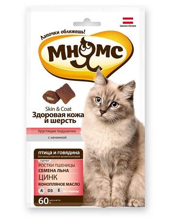 Мнямс лакомства для кошек Здоровая кожа и шерсть