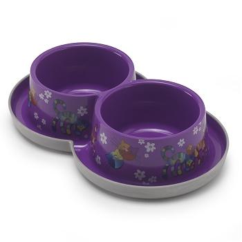 """Moderna миска Trendy Dinner Double Bowl """"Друзья навсегда"""" двойная фиолетовая 2x0,35 л (H136-157)"""
