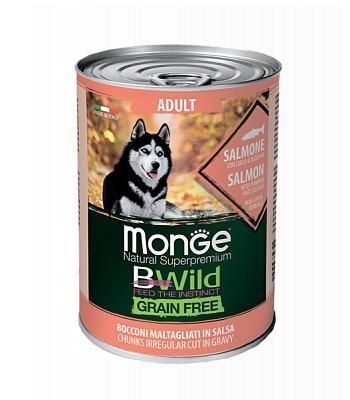 Monge BWild Adult консервы для взрослых собак с лососем