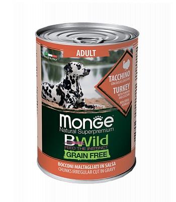 Monge BWild Adult консервы для взрослых собак с индейкой