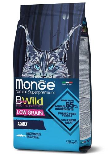 Monge BWild Low Grain Adult сухой корм для кошек с анчоусами