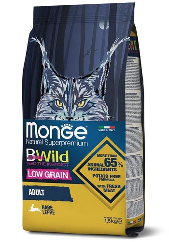 Monge BWild Low Grain Adult сухой корм для кошек с мясом зайца