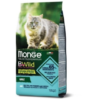 Monge BWild Grain Free Adult сухой корм для взрослых кошек с треской