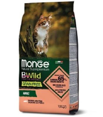 Monge BWild Grain Free Adult сухой корм для взрослых кошек с лососем