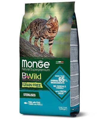 Monge BWild Grain Free Sterilised сухой корм для стерилизованных кошек с тунцом