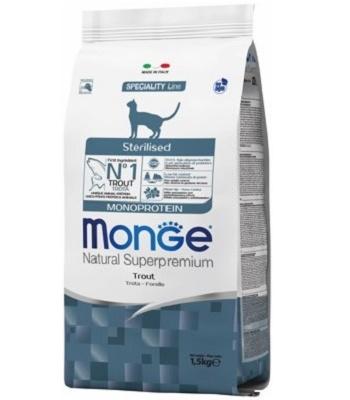 Monge Cat Monorotein сухой корм для стерилизованных кошек с форелью