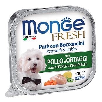 Monge Dog Fresh консервы для собак с курицей и овощами