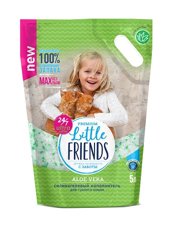 Little Friends Aloe Vera наполнитель для туалета силикагелевый