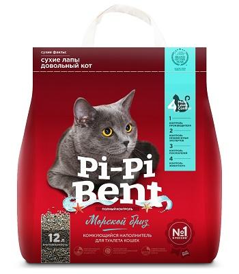 Pi-Pi-Bent Морской бриз наполнитель комкующийся