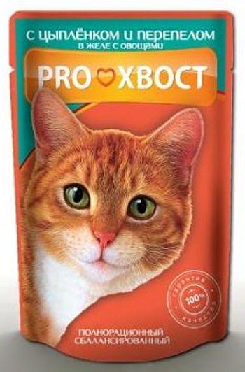 Proхвост влажный корм для кошек с цыпленком и перепелом в желе