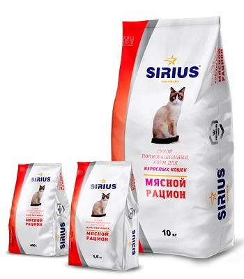 Sirius сухой корм для взрослых кошек Мясной рацион