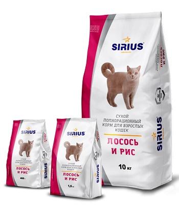Sirius сухой корм для взрослых кошек с лососем и рисом