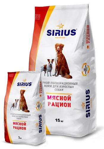 Sirius сухой корм для взрослых собак Мясной рацион