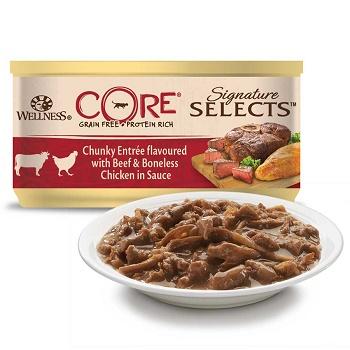 Wellness Core Signature Selects консервы для кошек с кусочками говядины и куриным филе в соусе