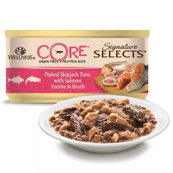 Wellness Core Signature Selects консервы для кошек с рубленым тунцом и лососем в бульоне