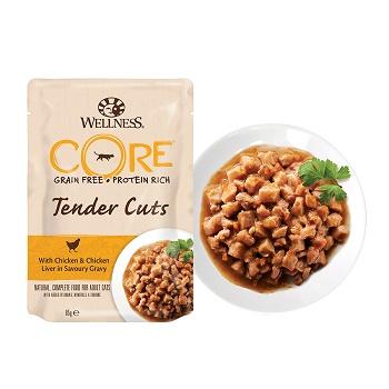 Wellness Core Tender Cuts пауч для кошек кусочки курицы и куриной печени в соусе