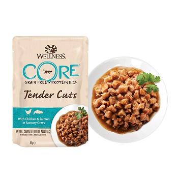 Wellness Core Tender Cuts пауч для кошек кусочки курицы и лосося в соусе