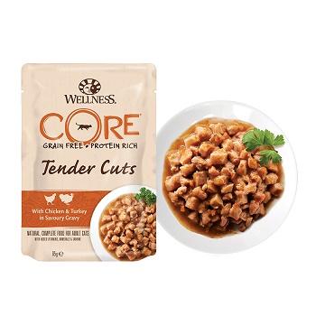Wellness Core Tender Cuts пауч для кошек кусочки курицы и индейки в соусе