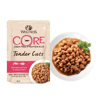 Wellness Core Tender Cuts пауч для кошек кусочки лосося и тунца в соусе