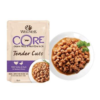 Wellness Core Tender Cuts пауч для кошек кусочки индейки и утки в соусе