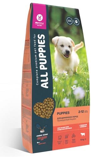 All Puppies сухой корм для щенков всех пород с говядиной