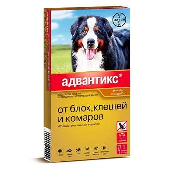 Bayer Advantix капли от блох и клещей для собак весом от 40 до 60 кг