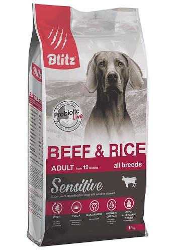 Blitz Adult Sensitive Beef&Rice сухой корм для взрослых собак всех пород с говядиной