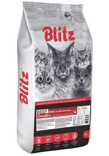 Blitz Sensitive Adult Beef сухой корм для кошек с говядиной