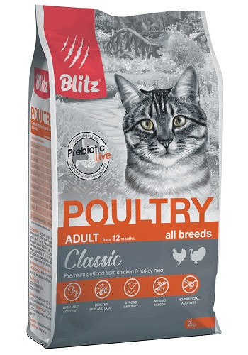 Blitz Classic Adult Poultry сухой корм для кошек с птицей
