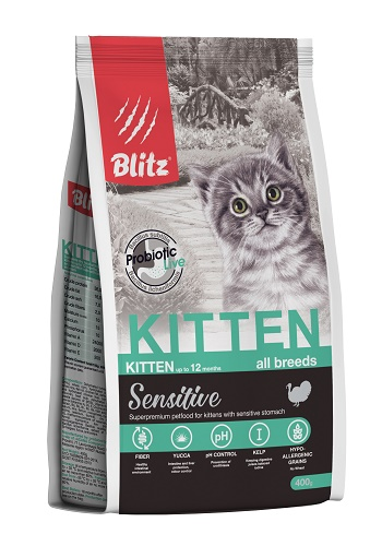 Blitz Sensitive Kitten сухой корм для котят с индейкой