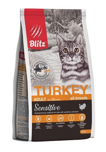 Blitz Sensitive Adult Turkey сухой корм для кошек с индейкой