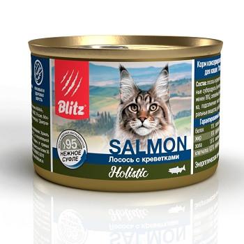 Blitz Holistic Salmon влажный корм для кошек Лосось с креветками