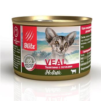 Blitz Holistic Veal влажный корм для кошек Телятина с почками