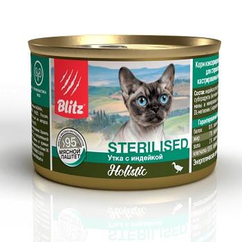 Blitz Holistic Sterilised влажный корм для кошек Утка с индейкой