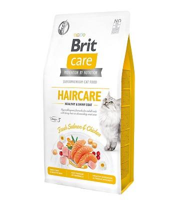 Brit Care Haircare сухой корм для кошек для ухода за кожей и шерстью с лососем