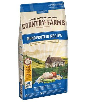 Country Farms Monoprotein Recipe монопротеиновый сухой корм для взрослых собак всех пород с курицей