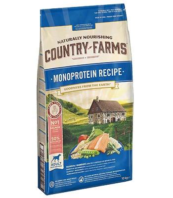 Country Farms Monoprotein Recipe монопротеиновый сухой корм для взрослых собак всех пород с лососем