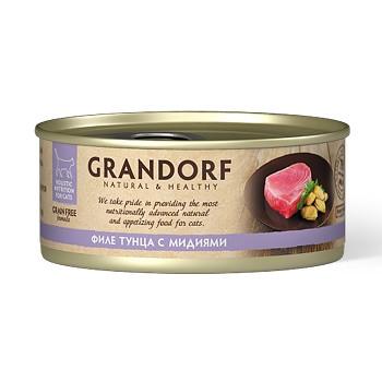 Grandorf консервы для кошек Филе тунца с мидиями