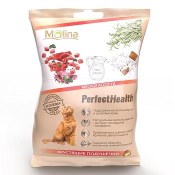 Molina Perfect Health хрустящие подушечки для кошек Мясное ассорти