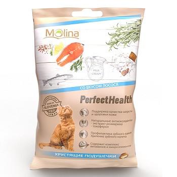 Molina Perfect Health хрустящие подушечки для кошек со вкусом лосося