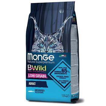 Monge BWild Low Grain Adult Anchovies сухой корм для кошек с анчоусами