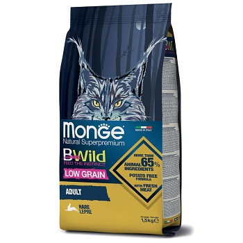 Monge BWild Low Grain Adult Hare сухой корм для кошек с мясом зайца