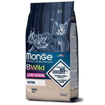 Monge BWild Low Grain Kitten сухой корм для котят с мясом гуся