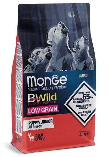Monge BWild Low Grain Puppy&Junior корм для щенков всех пород с оленем