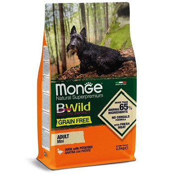 Monge BWild Grain Free Mini беззерновой корм для собак мелких пород с уткой