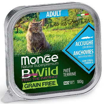Monge BWild Adult консервы для кошек с анчоусами и овощами