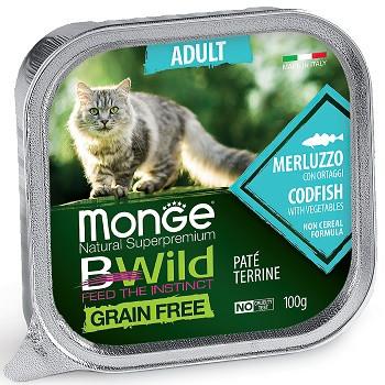 Monge BWild Adult консервы для кошек с треской и овощами
