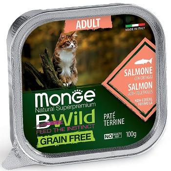Monge BWild Adult консервы для кошек с лососем и овощами