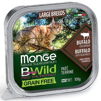 Monge BWild Large Breed консервы для кошек с буйволом и овощами