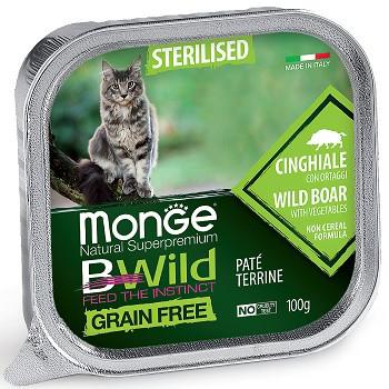 Monge BWild Sterilised консервы для кошек с кабаном и овощами